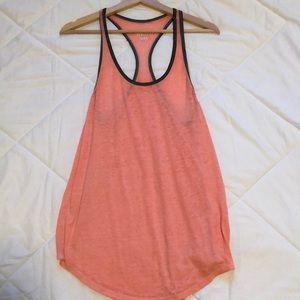 Pink tank top with gray hem